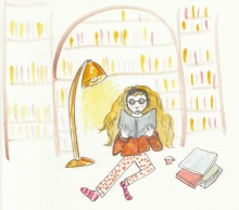 Reading in the Library, Watercolor Book Illustration by Amor Milagre. amormilagre.com Original Book Series