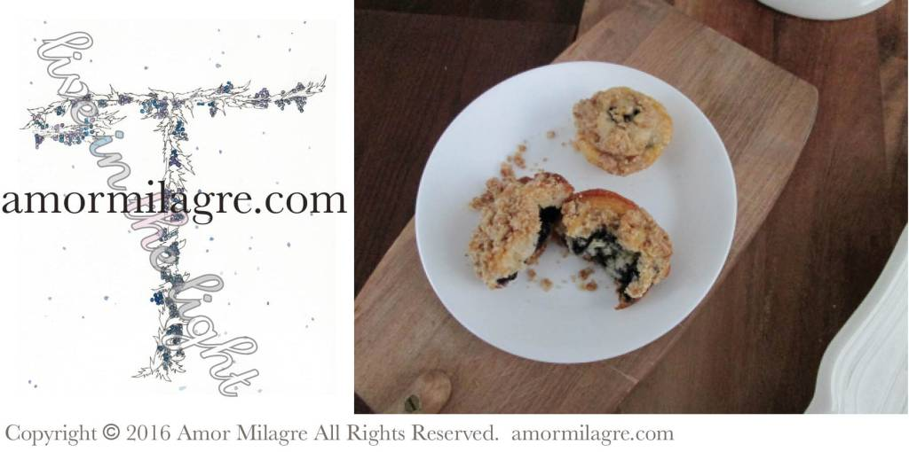 Wintery Blueberry Muffins with Crumb Topping, Illustrated Letter T Winter Snowy Blueberry Watercolor Painting, Photography and Artwork by amormilagre.com. Original Artwork in our SHOP!
