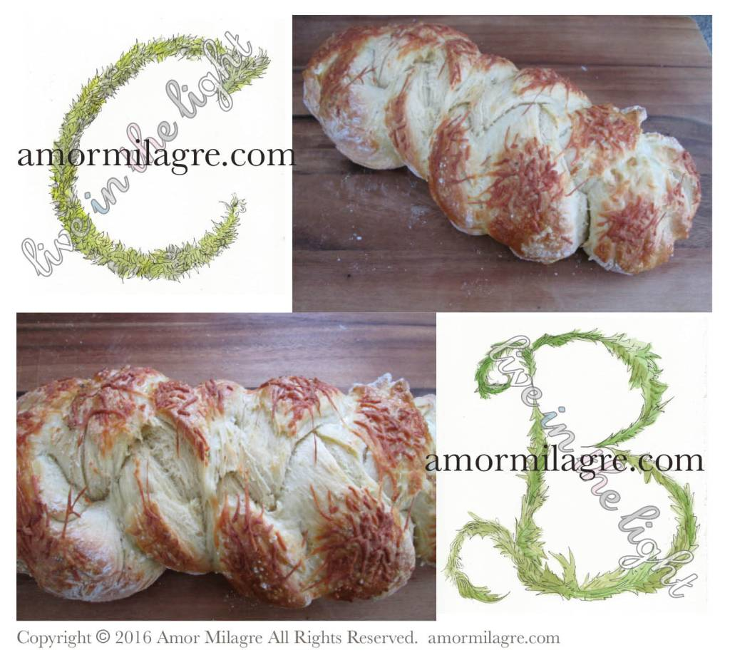 Sea Salt Parmesan Challah Bread. Photography and Artwork by amormilagre.com, Original Artwork Illustrated Garden Letters in our SHOP!