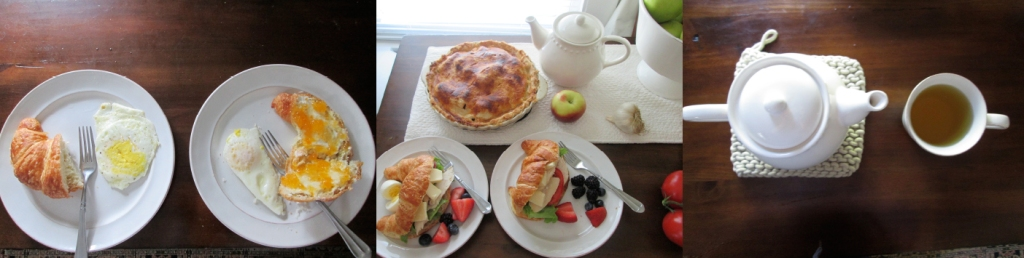 Eggs and Apricot Preserve Croissants, Apple Pie, Summer Sandwiches, Pot of Gypsy Tea, Photographs by amormilagre.com