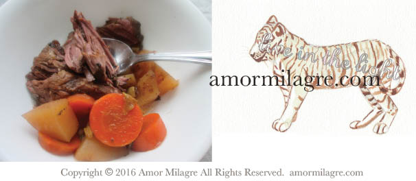 Cozy Beef Stew Recipe and Photography by amormilagre.com, Original Artwork Bengal Tiger Watercolor Painting in our SHOP!