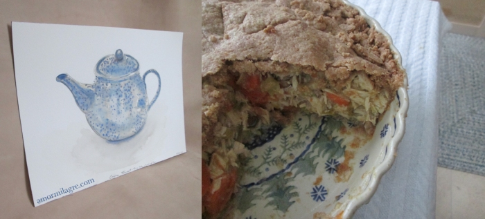 Afternoon Tea Recipe and Photography by amormilagre.com Organic Recipes, Paleo, Healthy. Artwork, Stationery, Organic Apparel, and Custom Gifts. Chicken Pot Pie with spelt crust and vegetables. Home cleaning, organizing, sorting. Blue speckled teapot watercolor painting by Amor Milagre.
