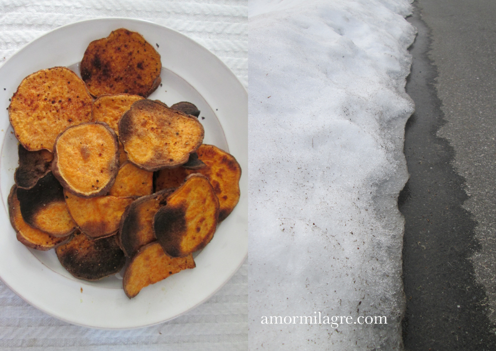 Warm Glow, Chorizo and Japanese Sweet Potato Mash, Baked Cinnamon Sweet Potato Chips Recipe and Photography by amormilagre.com Organic Recipes, Paleo, Healthy. Artwork, Stationery, Organic Apparel, and Custom Gifts. Degas Pastel Ballet Dancer Painting Drawing. Melting Snow. Art Museum.
