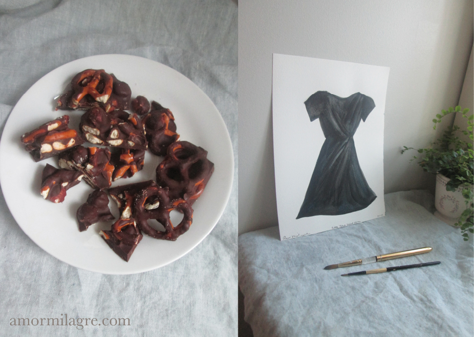 Little Black Dress Recipe and Photography by amormilagre.com Organic Recipes, Paleo, Healthy. Artwork, Stationery, Organic Apparel, and Custom Gifts. Chocolate covered pretzels and hazelnuts, organic cacao Valentine's Day Recipes, Fashion Illustration Black Dress Watercolor painting, prints, stationery and original artwork. Green amethyst healing powers necklace, pink velvet ballet slipper flat shoes with satin laces.